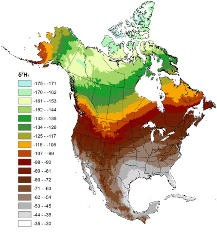 Hydrogen isoscape of North America used to assign migratory origins to passerines (Figure 2 in Hobson et al 2015: http://dx.doi.org/10.5751/ACE-00719-100103)