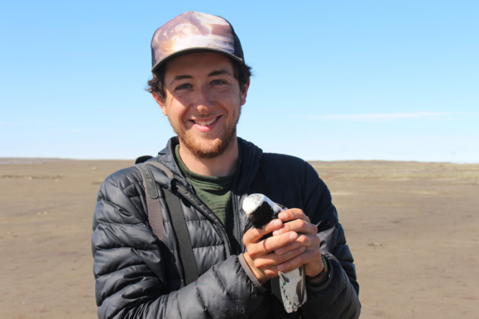 Humboldt student, Aaron Gottesman, with a plover in hand!