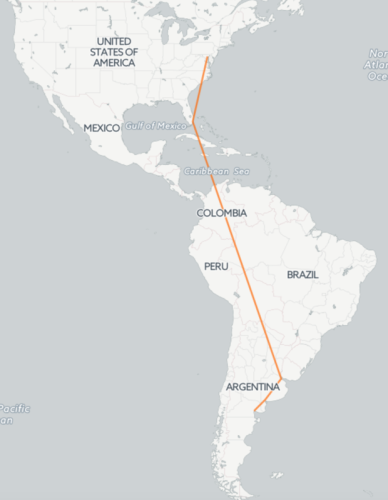 My own flight path to join the Black-bellied Plovers in Argentina