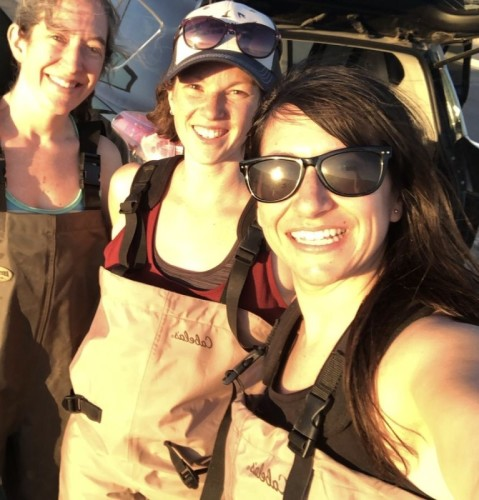 Amy, Elly, and Clarissa at the field site, Twin Arrows Casino, Arizona. Photo: Amy Scarpignato