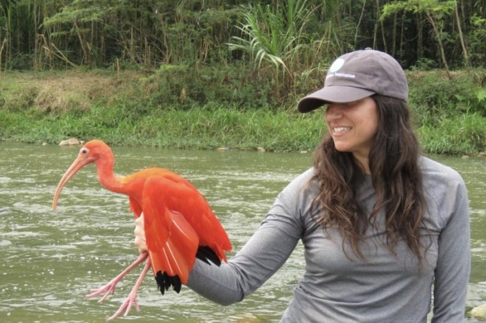 Amy with a Scarlet Ibis.